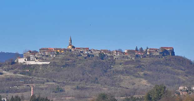 Vista of the medieval town of Buzet - town of truffles, Croatian Istria