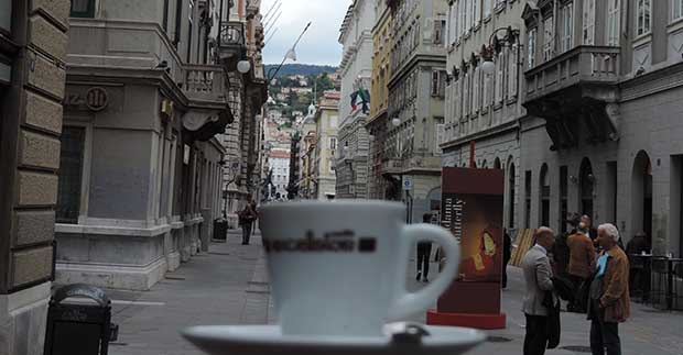Enjoying a cup of Lavazza coffee in Trieste, Italy