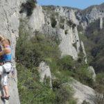 Climbing on the famous pillars of Vela Draga, Istria